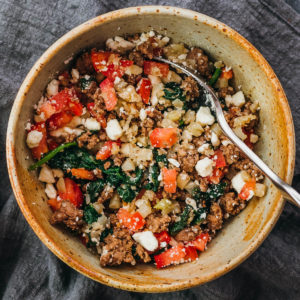 ground lamb bowl with cauliflower rice and spinach