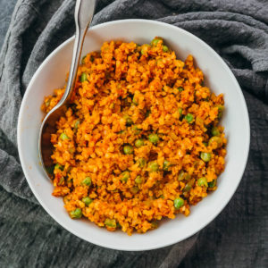 mexican cauliflower rice served in white bowl