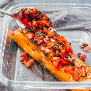 salmon topped with strawberry relish
