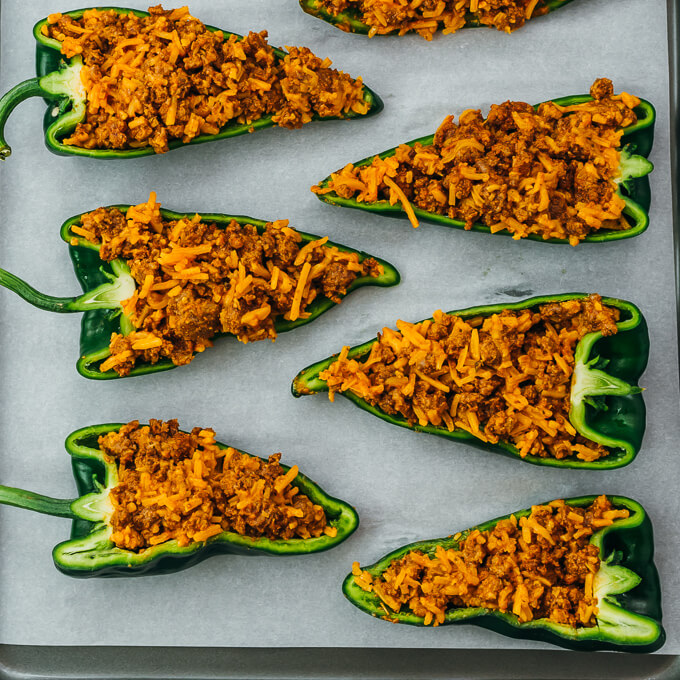 poblano peppers stuffed with meat and cheese