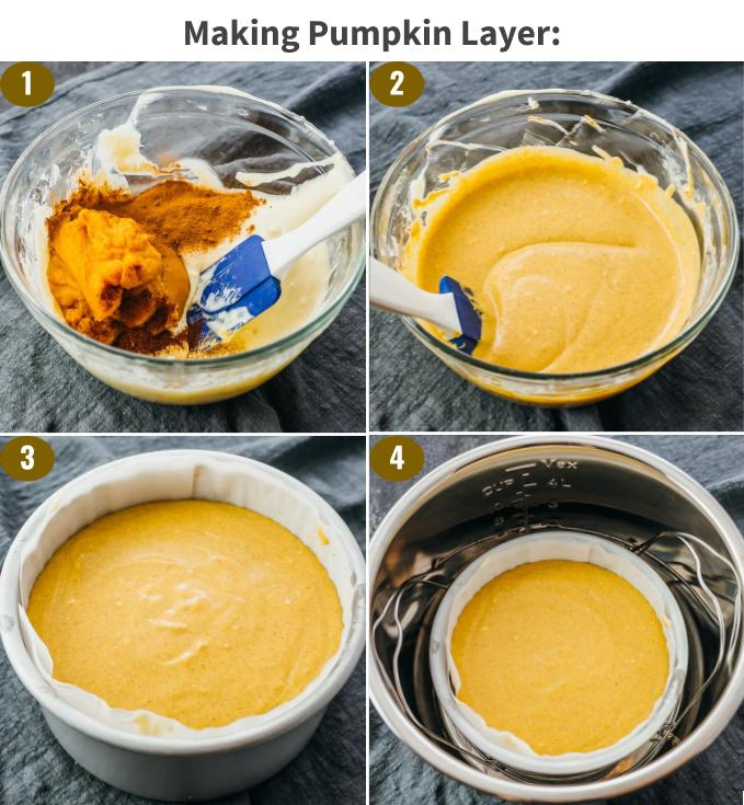 step by step making pumpkin layer