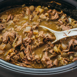 ladling up some shredded lamb stew