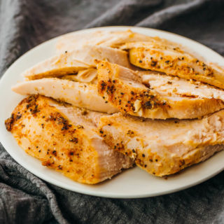 slices of freshly cooked turkey breast