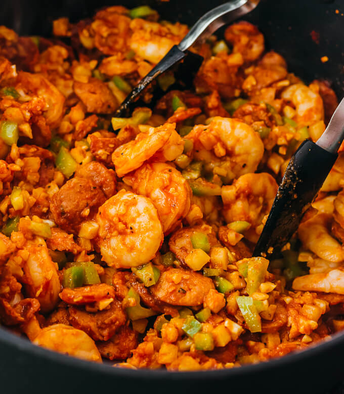 close up view of cooking jambalaya