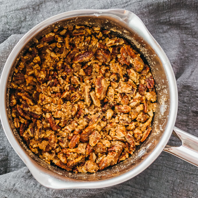 coating pecans with sweet browned butter