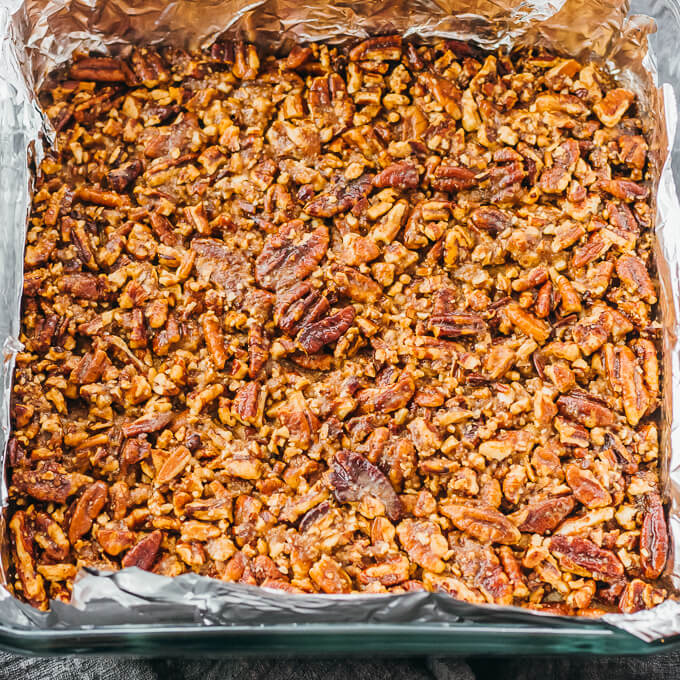 pecan bars after baking