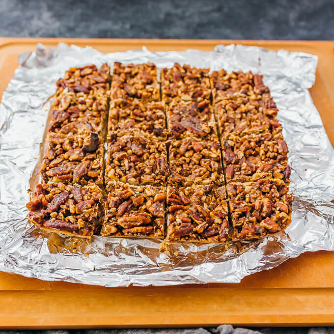 evenly cut pecan bars
