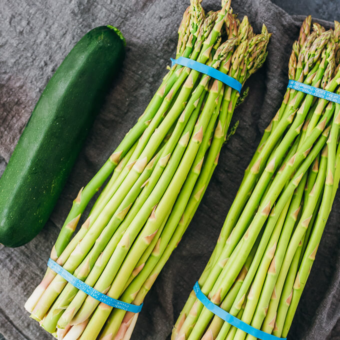 zucchini and asparagus spears