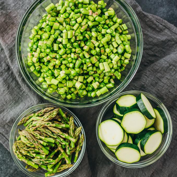 chopped zucchini and asparagus