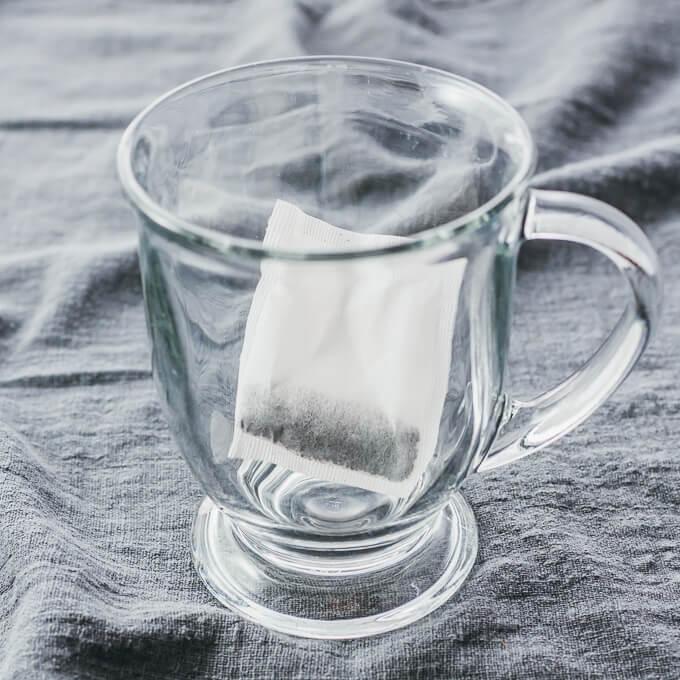 tea bag in glass cup