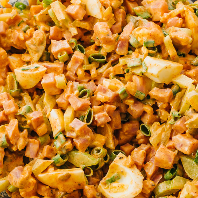 close up view of deviled ham salad