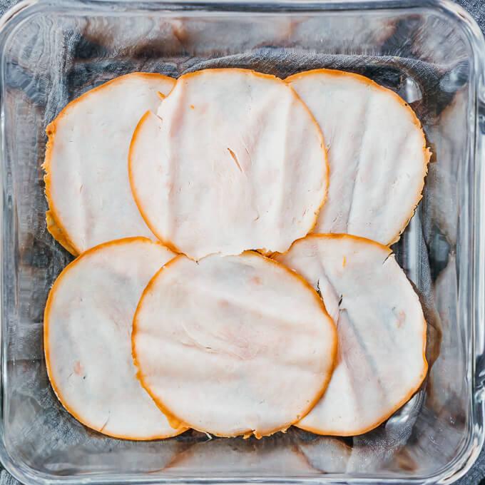 turkey slices in baking dish